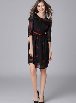 Three Quarters Sleeve Perspective Waist Chiffon Dress
