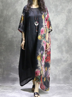 Trendy Crew-neck Long Sleeve Print Asymmetric Dress