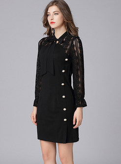 Trendy Standing Collar Hollow Out Long Sleeve Bodycon Dress
