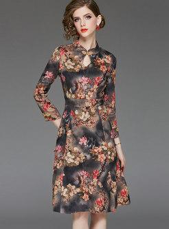 Ethnic Mandarin Collar Suede Print Skater Dress