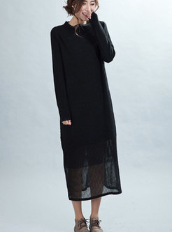 Casual Black Crew-neck Woolen Knitted Dress
