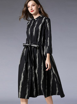 Casual Black Striped Print Loose T-Shirt Dress