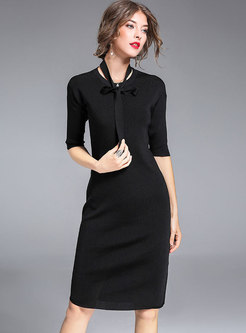 Brief Pure Color Half Sleeve Asymmetric Sheath Knitted Dress