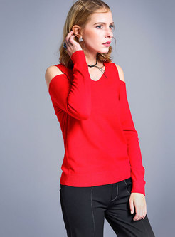 Pure Color V-neck Off Shoulder Knitted Sweater