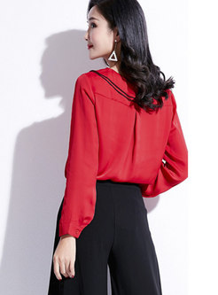 Stylish Turn Down Collar Falbala Easy Match Blouse