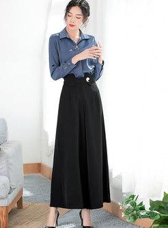 Brief Turn-down Collar Blouse & Black High Waist Wide-leg Pants