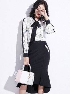 Color-blocked Print Tie-collar Blouse & High Waist Asymmetric Mermaid Skirt