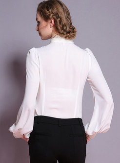 White Standing Collar Beaded Long Sleeve Blouse