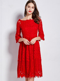 Brief Solid Color Three Quarters Flare Sleeve Lace Dress