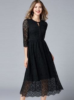 O-neck Hollow Out Three Quarters Sleeve Big Hem Lace Dress