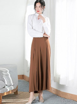 Fashion White Chiffon Blouse & High Waist Wide-leg Pants