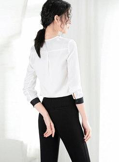 Spring V-neck Chiffon Blouse & Black High-rise Slim Pants