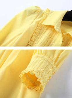Pure Color Lapel Gathered Waist Slim A Line Dress