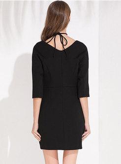Sexy Black Tied Bowknot Half Sleeve Slim Mini Dress
