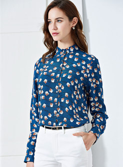 Chic Print Stand Collar Single-breasted Blouse