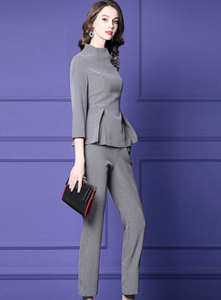 Trendy Grey Houndstooth Top & High Waist Flare Pants
