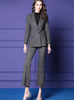 Fashion Grey Striped Blazer & High-rise Slim Flare Pants