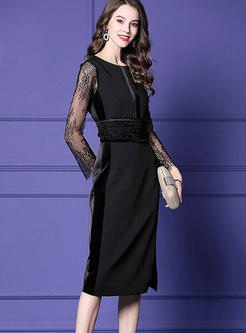 Black Lace Stitching Velvet Knee-length Sheath Dress