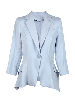 Notched Three Quarters Sleeve Casual Blazer