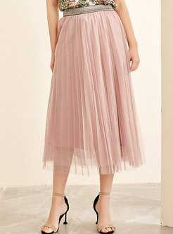 Stylish Pink Elastic Waist Gauze Pleated Skirt