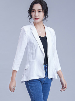 Brief Solid Color Notched Slim Blazer With Button