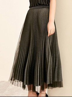 Mesh Splicing Elastic Waist Pleated A Line Skirt