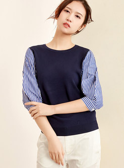 Striped Splicing Lantern Sleeve O-neck Knitted Sweater