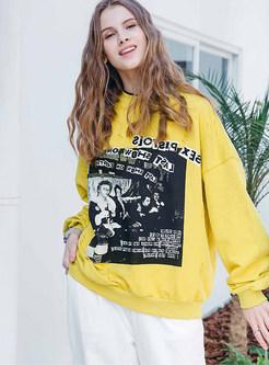 Casual Loose O-neck Long Sleeve Print Pullover Sweatshirt