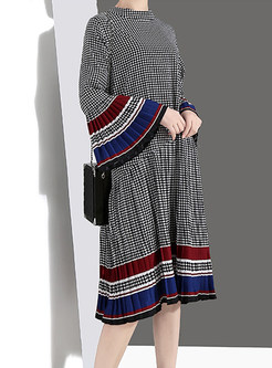 Color-blocked Flare Sleeve Loose Houndstooth Dress