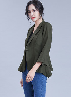Work Three Quarters Sleeve Pure Color Blazer