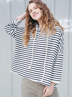 Trendy Striped Hooded Tied Long Sleeve Sweatshirt