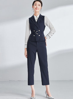 Striped Turn Down Collar Belted Vest & Striped Straight Pants