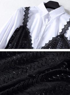 White Lantern Sleeve Slim Blouse & Black Lace High Waist Slip Dress