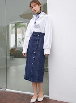 Asymmetric High Waist Single-breasted Denim Skirt