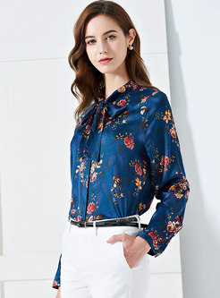 Chic Print Stand Collar Bowknot Slim Blouse