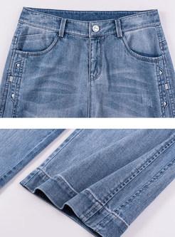 Casual High Waist Plus Size Wide Leg Long Pants