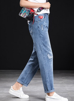 Stylish High Waist Holes Plus Size Denim Pants