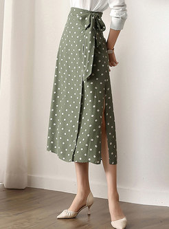 Fashion Polka Dot High Waist Belted Slit Skirt