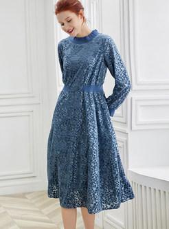 O-neck Long Sleeve Knee-length A Line Dress