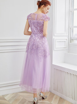 Sweet Purple Mesh Waist Ankle-length Maxi Dress
