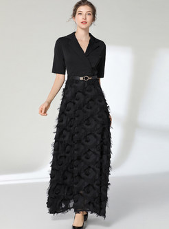 Notched Half Sleeve Feather Fringed Maxi Dress