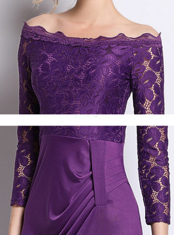 Slash Neck Lace Three Quarters Sleeve Waist Maxi Dress