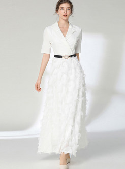 Solid Color Notched Waist Banquet Maxi Dress With Belt