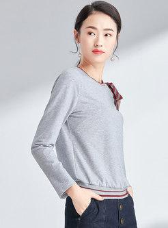 Chic One Shoulder Bowknot O-neck Loose Sweatshirt