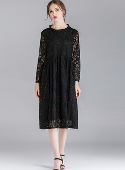 Stylish Color-blocked Ruffled Collar See-though Loose Lace Dress