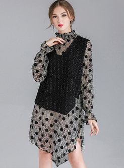 Chic Splicing Dot Stand Collar Asymmetric Shift Dress
