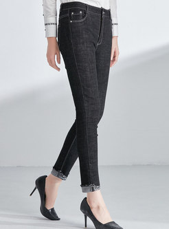 Black Denim Slim Pencil Pants