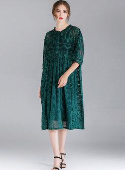 Elegant Tie-collar Half Sleeve See-though Loose Dress