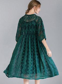 Elegant Tie-collar Half Sleeve See-through Loose Dress