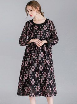 Floral Print O-neck High Waist Loose Lace Dress